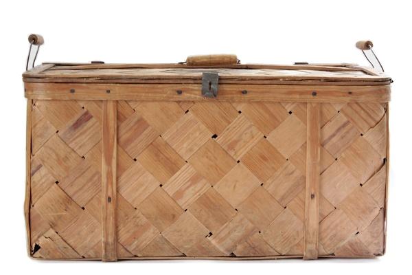 北欧ビンテージ バスケット    モミの木 収納かご 大 / スウェーデン