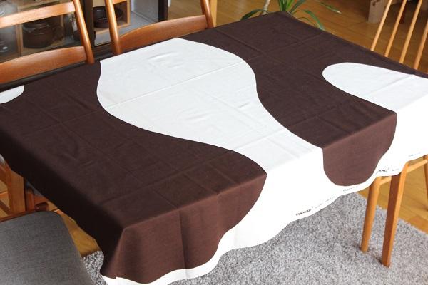 北欧ヴィンテージ         Vuokko ファブリック 140cm×130cm /Ranta 白×茶