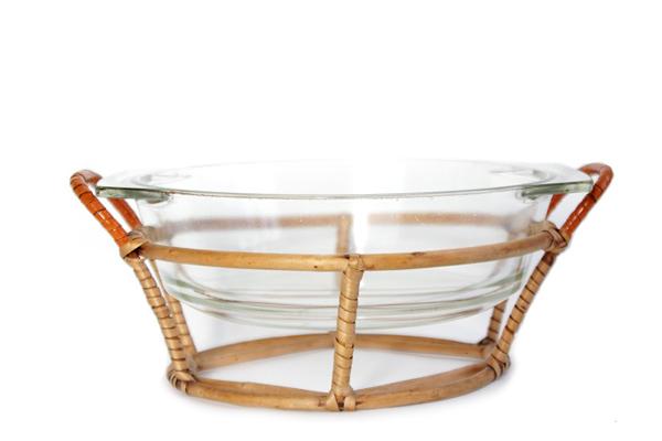 北欧ビンテージ       籐のホルダーwith ガラスボウル