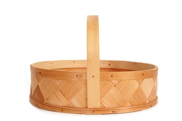 北欧ビンテージ バスケット    モミの木バスケット 丸 / スウェーデン