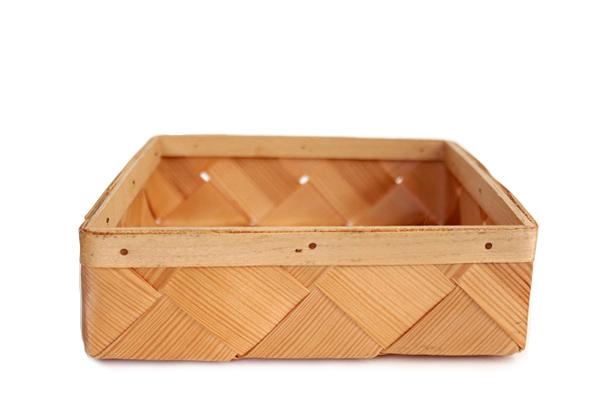 北欧ビンテージ バスケット    モミの木トレイ 四角 小 / スウェーデン