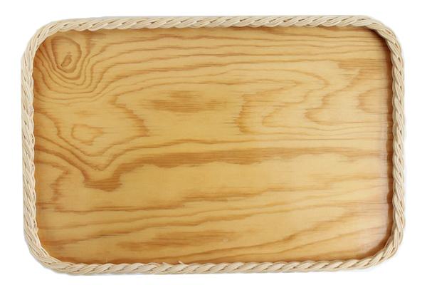 北欧ビンテージ トレイ      籐と合板のトレイ / Lサイズ