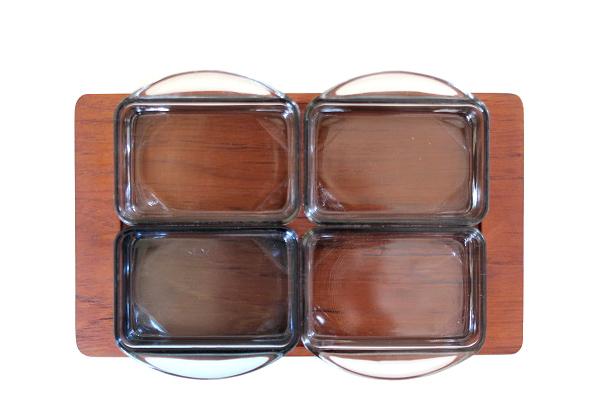 北欧ビンテージ トレイ         トレイ&ガラス容器 (No.L)