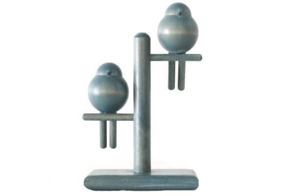 aarikka アーリッカ          鳥のオブジェ (ブルー) / 木製