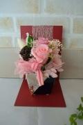 和風黒陶器ピンク薔薇プリザ