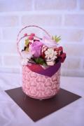 和風ピンク桜陶器 ピンク薔薇プリザ