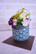 和風ブルー桜陶器 グリーン薔薇プリザ