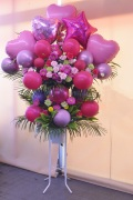 ピンクバルーン2段スタンド花
