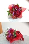 ダリア バラ 赤系 花束