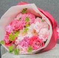 バラ カーネーション ピンク系 ラウンド花束