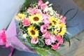 【全国送料無料】ひまわり バラピンク 花束