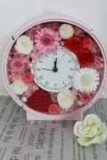 花プリザ時計 ピンク丸型