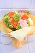 ビタミンカラー ガーベラカーネーション元気いっぱい花束