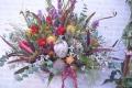 ドライ素材と赤バラの大きなアレンジ