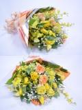 バラ カスミ草 黄色系 花束