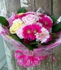 ガーベラ ピンク優しい色 ラウンド花束