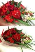 ダリア バラ ガーベラ 赤系花束