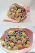 バラ パステルピンクイエロー系花束