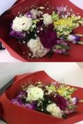 カーネーション トルコ桔梗 白紫系花束