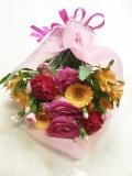 バラガーベラカーネーション 赤ピンクオレンジ花束