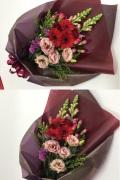ガーベラ カーネーション 赤ピンク系花束