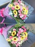 ひまわり バラ ピンク黄色 花束