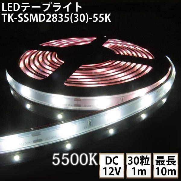 LEDテープライト シリコンチューブ TK-SSMD2835(30)-55K 白色(5500K) 30粒/m 単色 IP67 DC12V 屋外使用可能 ジャック付外径5.5mm×内径2.1mm DIY ※点灯するには別途ACアダプターが必要です
