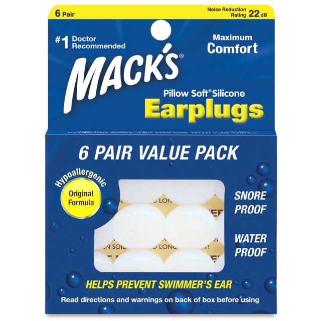 Mack's Soft Silicone Earplugs 6ペア 【メール便可】