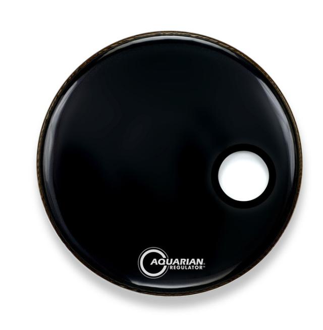 AQUARIAN Drumhead Regulator Gloss Black 12cmオフセットホール /1プライ
