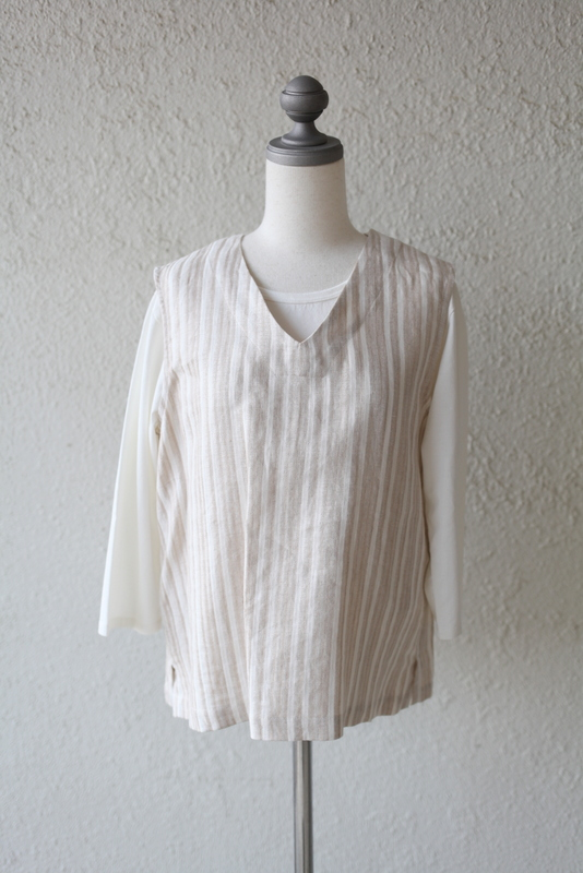 JOHNBULL ジョンブル | LINEN SLEEVELESS BLOUSE -ベージュ-