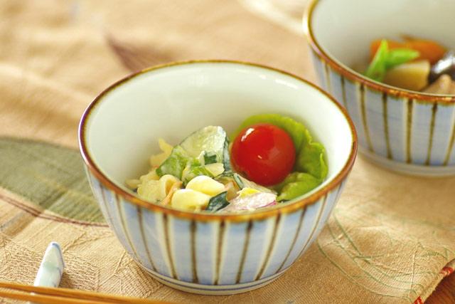 和食器・砥部焼 縞もようの台形鉢