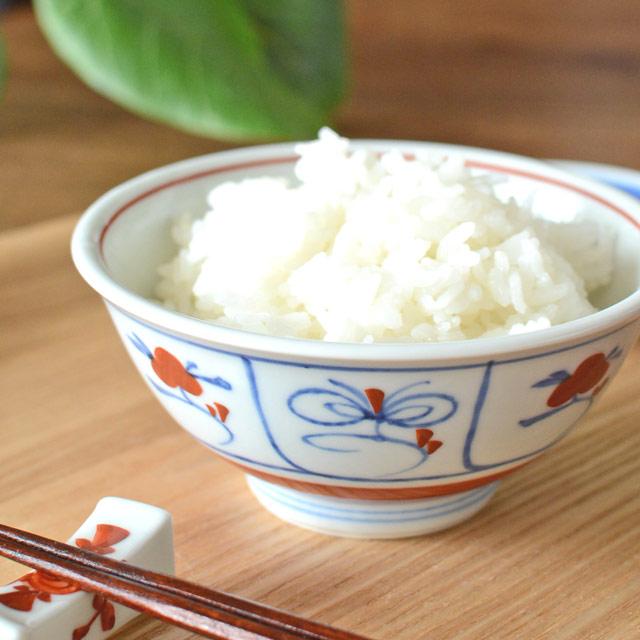 和食器・砥部焼 赤なずなの反茶碗(3.6寸)