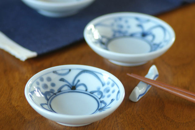 【砥部焼 梅山窯】つるんとまあるい豆小皿( 太陽)