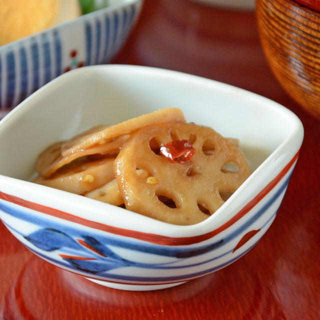 和食器・砥部焼 みつ葉の四方鉢(3寸)