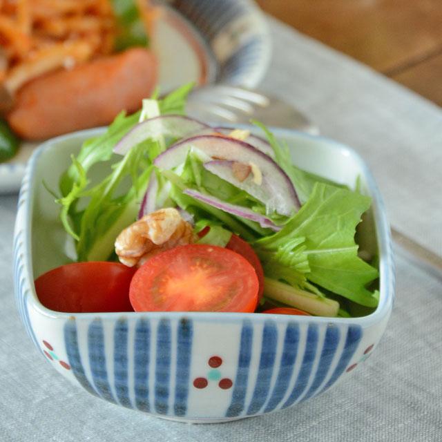 和食器・砥部焼 とくさみつ紋の四方鉢(3寸)