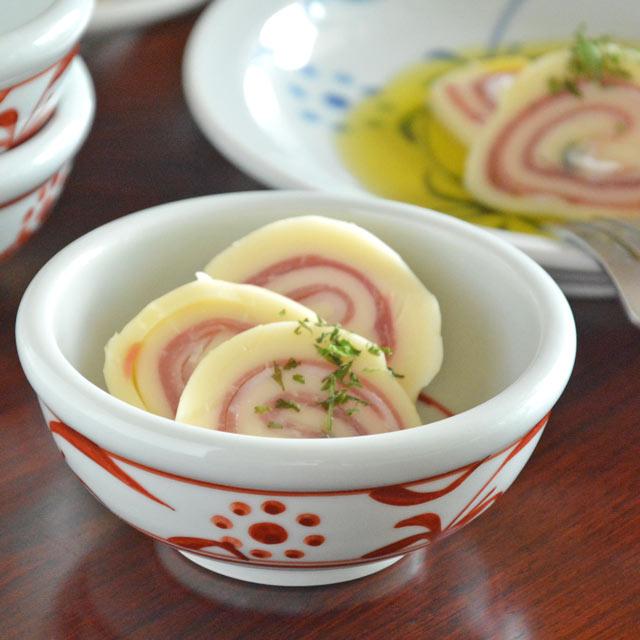 和食器・砥部焼 赤太陽の玉ぶち鉢(3寸)