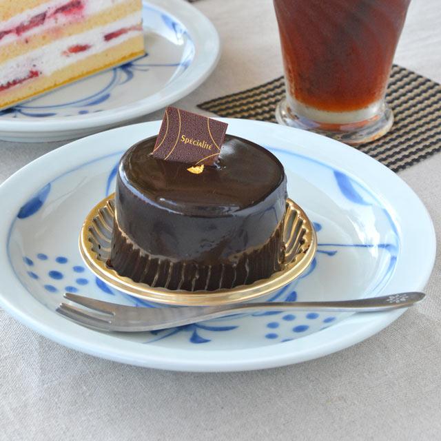 和食器・砥部焼 太陽柄の縁付皿(5.5寸)