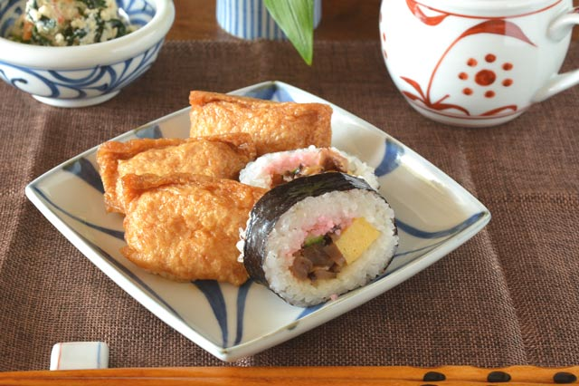 和食器・砥部焼 からくさの正角皿(5寸)