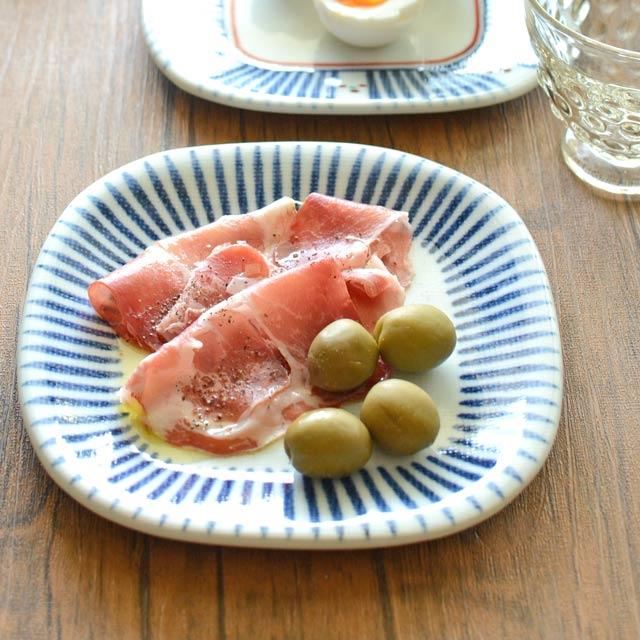和食器・砥部焼 とくさ柄の角丸布目皿(5寸)