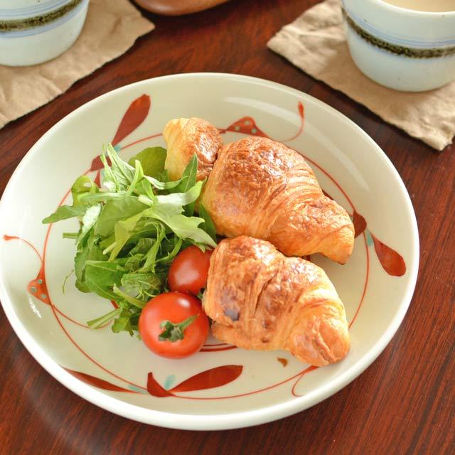 和食器・砥部焼 赤笹の切立丸皿(6寸)