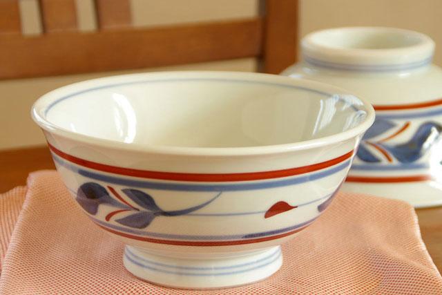 【砥部焼 梅山窯】みつ葉の丼鉢(6寸)