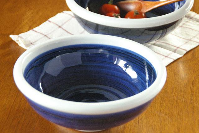 【砥部焼 梅山窯】内外藍色の玉ぶち鉢(6寸)