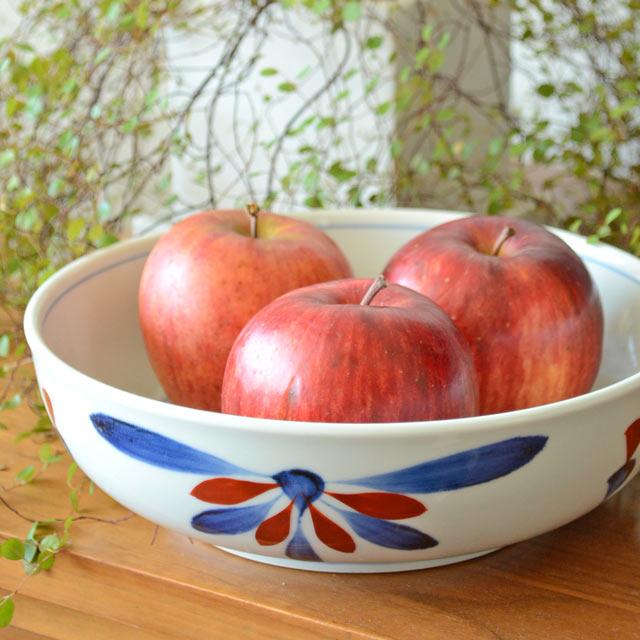 和食器・砥部焼 ごす赤菊の平鉢(7寸)