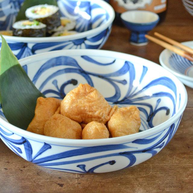 和食器・砥部焼 内外からくさの平鉢(7寸)