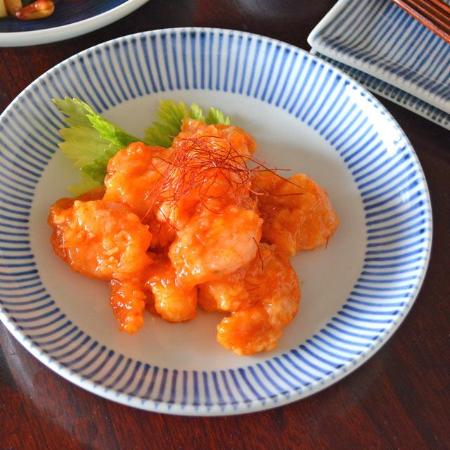 和食器・砥部焼 とくさ柄の大皿(7寸)