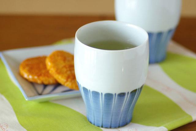 【砥部焼 梅山窯】たてしま柄のフリーカップ