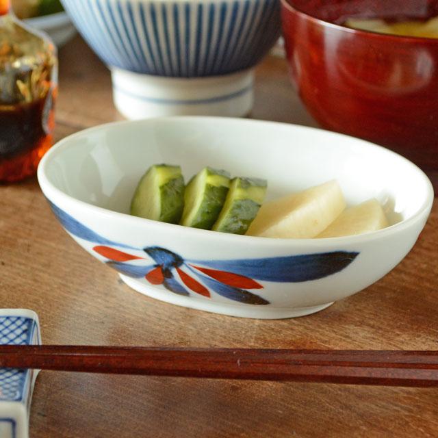 和食器・砥部焼 ごす赤菊の舟型小鉢