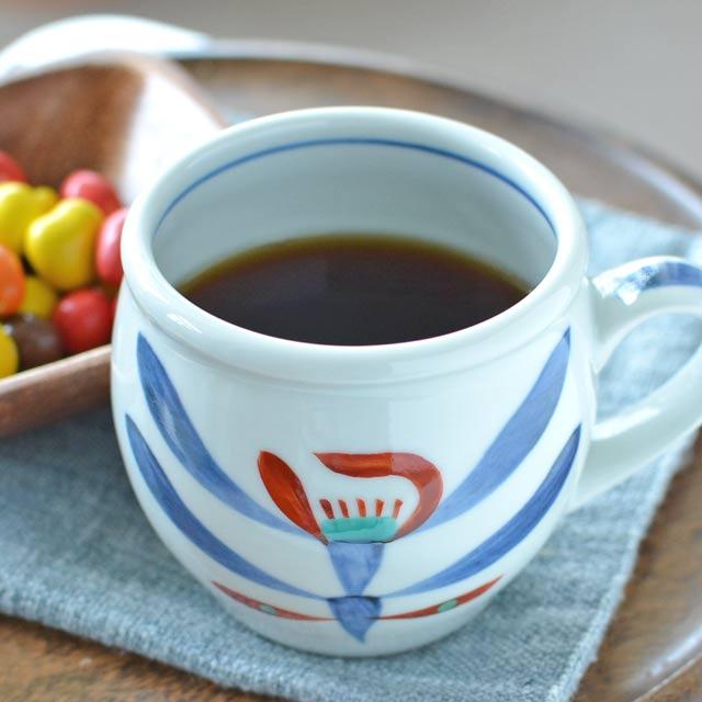 和食器・砥部焼 あか花の丸ミルクカップ