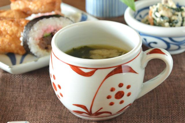和食器・砥部焼 赤太陽の丸ミルクカップ