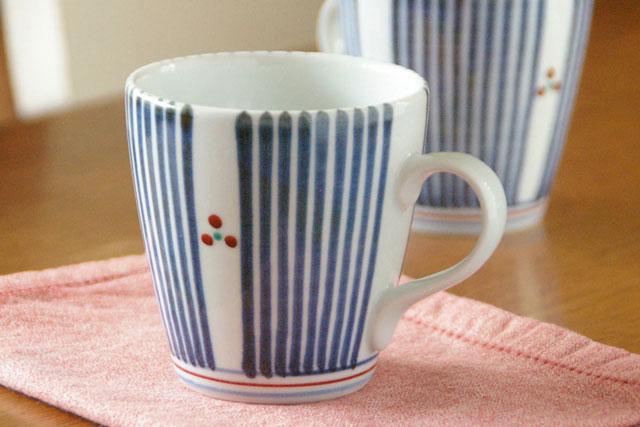 【砥部焼 梅山窯】とくさみつ紋のモーニングカップ